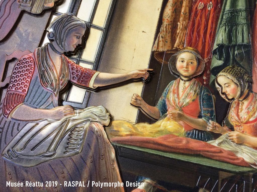 Détail de l'image tactile, interprétation de l'huile sur toile